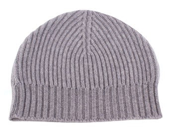 Mens Ribbed 100% Cashmere Beanie Hat - Light Grey - handmade in Scotland by Love Cashmere