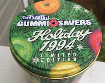 SALE Vintage Empty Tin Container Gummi Savers Holiday 1994 limited Edition