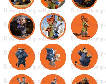 Zootopia Cupcake Toppers, 2 Inch Zootopia Digital printable file, print as many as you want..
