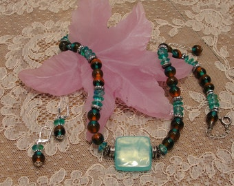 Aqua & Brown Necklace Set