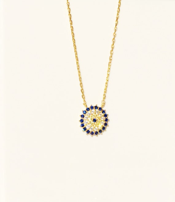 gold evil eye necklace MEGA SALE Real Sterling Silver and Cubic Zirconia, Safe to get wet.