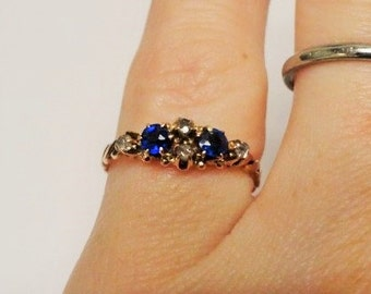 Vintage Antique Sapphire Mine Cut Diamond Ring Engagement Ring Promise Ring Right Hand Ring