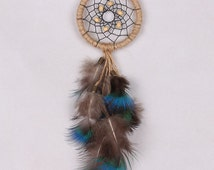 Handmade Vintage Mini Flax Circle Dream Catcher Peacock Feather Wood Bead Dreamcatcher Car Hanging Decoration Ornament Crafts(H7089)