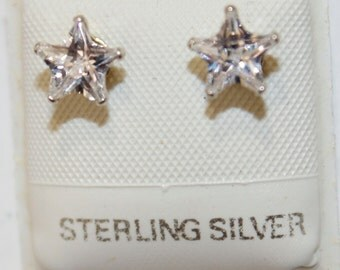 Star Cubic Zirconia 7mm CZ  .925 Sterling Silver Earrings
