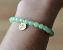 Light Green Bracelet, Mint Opal Mala Bead w/ 18K Gold Vermeil Lotus Charm GP621 Yoga Splendometria Endometriosis Jewelry Chronic Pelvic Pain