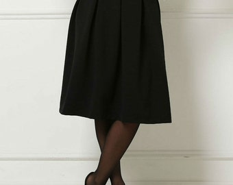 Black Classic Skirt Office clothing  everyday business woman clothes Midi skirt folds