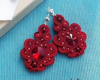 Rivoli Ruby Red Soutache Earrings