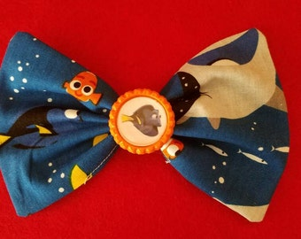 Disney's Finding Dory Fabric Hair Bow with choice of bottle cap centers, Finding Nemo Hair Bow,party favors, birthday party, Disney bound