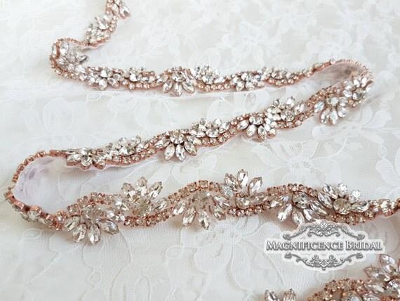 Thin bridal belt rose gold belt rose gold bridal belt rose for Gold belt for wedding dress