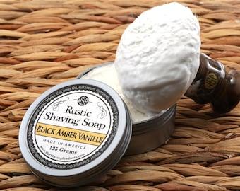 Rustic Men's Shaving Soap (Black Amber Vanilla) Shaving Cream, Vegan Soap, All Natural Soap, Handmade Soap,  Hot Process Soap