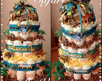Safari Diaper Cake 3 Tier
