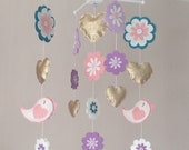 Baby mobile  Baby girl mobile  Cot mobile  Star mobile  Birds hearts and flowers Mobile  Nursery Decor  Gold purples pink and teal