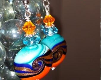 Orange, Teal and Blue Lampwork Earrings