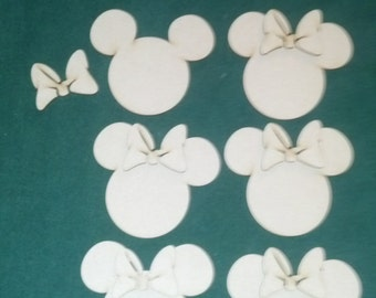 Minnie Mouse - unfinished ornaments (6 pieces)