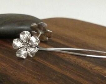 Cherry Blossom Long Stem Silver Flower Earrings 925 Flower Sterling Silver Earrings Botanical Earrings