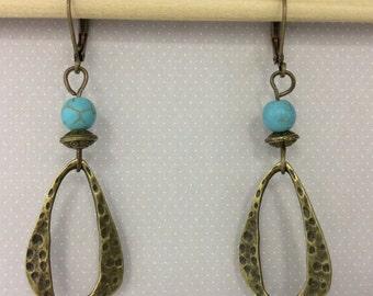 Boho Turquoise Earrings, Bohemian Earrings, Southwest Earrings, Bohemiam Jewelry, Southwest Jewelry, Dangle Earrings
