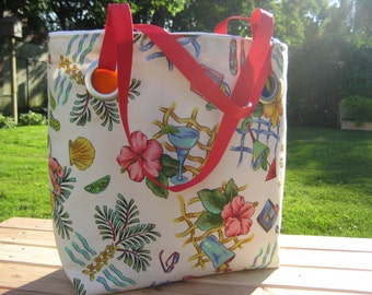 Large Colorful Hawaiian Beach Bag / Weekend Tote