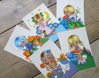 Vintage postcard set. Retro kids birthday cards from the 70s.