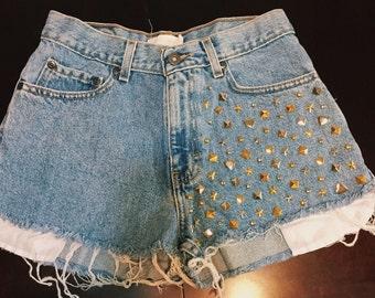 "Studded High Waisted Shorts (Size: 28"" - 7/8)"