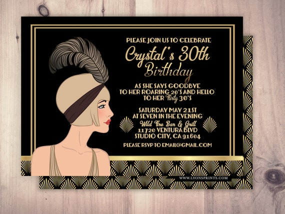 Great Gatsby birthday invitation Roaring 20s Hollywood film theme