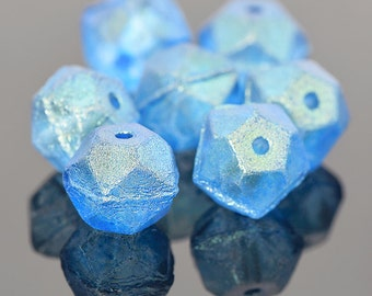 Blue English Cut Beads, Czech Glass Rough Cut, Frosty Matte Capri Blue Glass Beads, Blue Rough Cut, 10mm Beads - 15 beads (ENG-09)