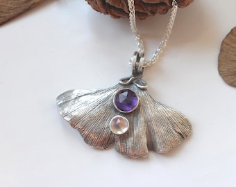 Gingko leaf necklace with amethyst and rainbow moonstone or peridot
