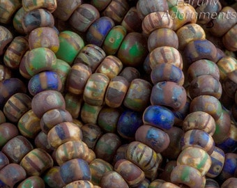 Matte stripe ancient look Picasso beads size 6/0 4mm, 6 inch strand or @65 beads, Earth Tones. b11-mi-1183(e)