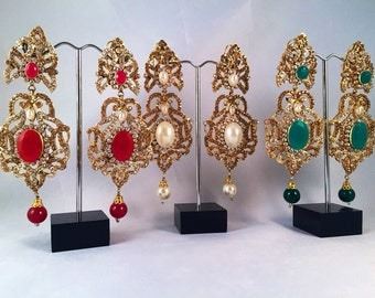 chandelier earrings hqjewels Pakistani / Indian Jewelry