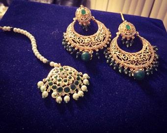 Stunning Emerald Kundan Tikka and Earring | Pakistani / Indian Jewelry |