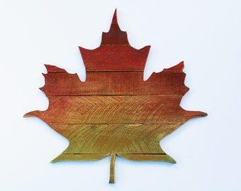 Fall Reclaimed Wood Maple Leaf