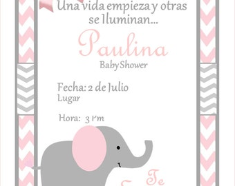 NEW!!!! Pink Elephant Baby Shower Invitation!!!!!