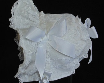 White Cotton with White Lace Overlay Baby Bonnet