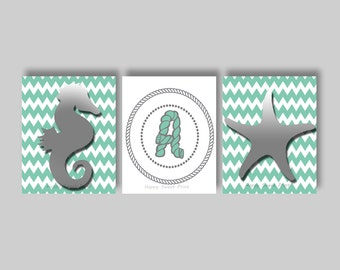 Seahorse art, Nautical nursery prints,under the sea, gray seahorse star fish crib bedding ,gender neutral teal chevron,personalized monogram