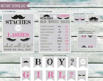 """Custom Order - Baby gender reveal party decorations - 2 8"""" x 10"""" signs, Banner, Cupcake Toppers and Text cards - INSTANT DOWNLOAD"""