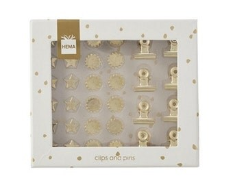 Gold clips and pins set