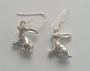 Sterling Silver Solid Hare Earrings