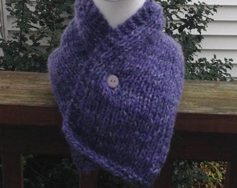 Purple and Gray Christmas Holiday Knitted Collar