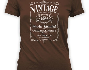 Vintage Whiskey Label Birthday Shirt Born 1966 - Celebrating 50th Birthday, Gifts for Him, Gifts for Grandpa, Gifts for Dad Bourbon CT-1055
