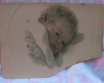 Original Bessie Pease Gutmann Lithograph, ON DREAMLANDS BORDER #692, Vintage New Baby Nursery Print, 1920's