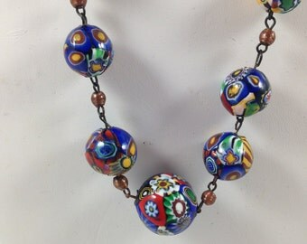 1920's Graduated Millifiori Necklace with Jumbo Beads