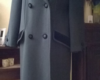 Vintage wool and cashmere color Peacock Blue Coat