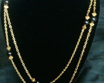 Black and Gold Beads with Chain  Necklace!!!!
