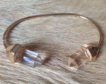 Gold Natural Clear Crystal Quartz Bangle Bracelet
