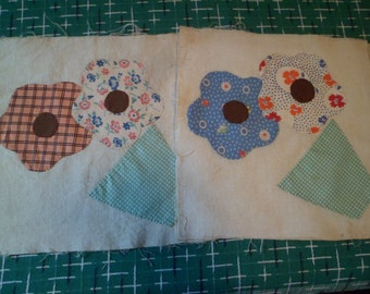Vintage 4 Quilt Blocks Hand Applique Potted Flowers From Lancaster County PA
