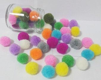 50 colorful mix cotton pom pom DIY handmade Party Yarn Pom Poms Balls