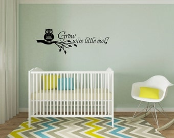 Wall Vinyl Decal Grow wise little owl