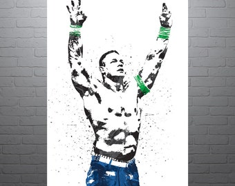 John Cena WWE, Sports Art Print, Wrestling Poster, Kids Decor, Watercolor Contemporary Abstract Drawing Print, Man Cave