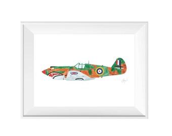 Beautiful Vintage Airplane WWII P-40 Warhawk Shark Mouth - Watercolor Art Print