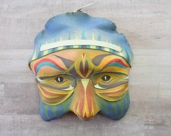 Leather Mask - Strange Leather Mask - Native American Style Mask - Vintage Mask - Unique Mask - Unique Decor - Wall Art - Rare