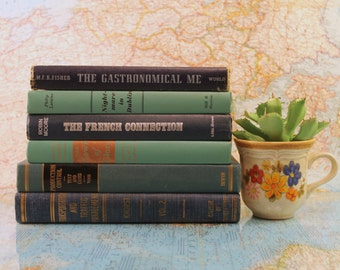 Vintage Book Set - Colorful Books - Antique Book Set - Book Decor - Centerpiece - Bookshelf - Instant Library - Book Stack -